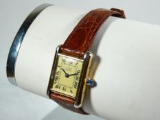 Ladies Silver Gilt Cartier Wrist Watch