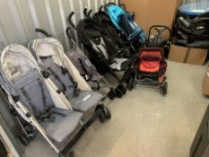 Eight prams and baby equipment to include Uppababy 2 stroller, Chicco stroller, Redkite stroller,