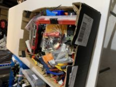 Box of tools includes Hyper tough 65pce ratchet screwdriver bit set.