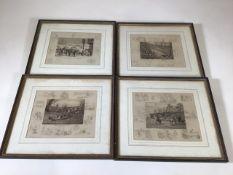 Four 19th century pencil sketch prints of hunting scenes by Frank Paton (1855-1909). by Leggatt Bro