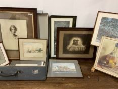 Various original artwork and prints along with a mid century plastic suitcase