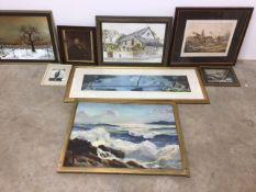 A collection of pictures, oil painting, watercolour and various prints