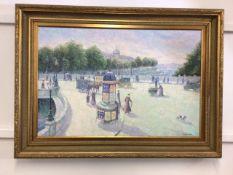 GAIL SHERMAN CORBETT (AMERICAN 1871 - 1907), PARIS SCENE oil on canvas, signed bottom right. W: