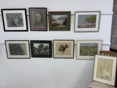 Nine original pastel drawings, landscapes, botanical and a portrait. Average image size:W:35cm x H: