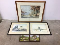 Three watercolour paintings of countryside scenes and two oil on canvas painting by B.M.Denner.