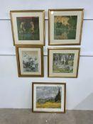 Five furnishing prints in gilt frames. Average image size. W:39cmxH:39cm