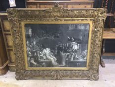 A gilt gesso frame in the 16th century style with etching print in the manner of Pieter van Borscht.