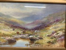 H.Lawes. Watercolour on canvas. Dartmoor near Oakhampton