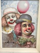 Oil on canvas of a pair of clowns in white painted frame. Signed W.Moninet. W:29cm x D:cm x H: