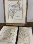Three framed mapsW:23cm x D:cm x H:27cm