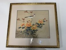 A Japanese painting on silk depicting a song bird and chrysanthemums. In Japanned frame.W:47cm x