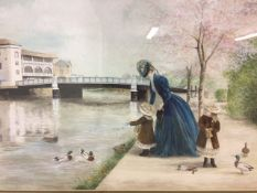 A watercolour of a Mother and Daughters feeding the bird by the River Tone in Taunton by Ann Gray.