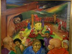 A large oil on canvas depicting Christ on the cross entitled The Way. By Roger Kimber, signed