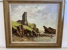 An oil on board by Archie Niven of a Cornish Tin mine on a rocky coast line.W:59cm x D:cm x H: