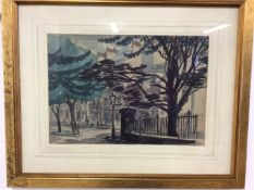 A watercolour and pencil sketch of a Street scene indistinctly signed. Image: W:35cm x D:cm x H: