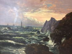 English School. Oil on canvas. A seascape with crashing waves and ships on the horizon. In gilt