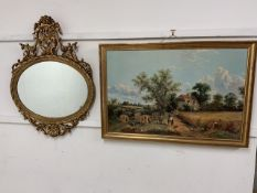 A modern decorative gold mirror also with a country print from an oil painting.W:67cm x D:cm x H: