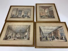 After J. Nash, four aquatint prints from The Mansions of England in olden times. With pencil written