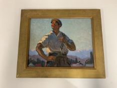 A Russian oil on canvas of a gentleman in the style of a communist worker,W:53cm x D:2cm x H:44cm