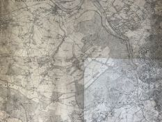 A map of Bristol and Somerset from early 20th century. Four separate maps combined. Printed and