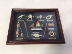 A framed selection of sailing knots