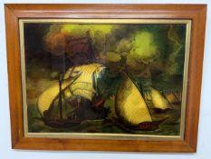 An reproduction marine pint in wood and gilt frameW:48cm x D:cm x H:34cm