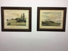 Two golfing prints. W:84cm x D:cm x H:72cm