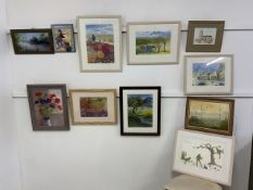 Original artwork, watercolours, pastels and oils in good quality modern frames. (11)