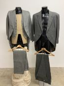 Two vintage grey three piece morning suits. Both size 40.