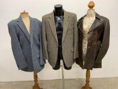 A gentlemans vintage leather jacket 36 together with two gents tweed jackets. Tweed jacket