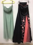Two late 20th century Ladies evening dresses. Manon size 18 with matching shoulder scarf