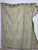 A pair of green chenille interlined eyelet curtains W:133cm x D:cm x H:246cm