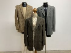 Three vintage tweed jackets all size 42.