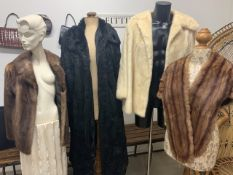 A 1950s white mink fur coat 1950s blond mink fur jacket, a Fur stole and one other.