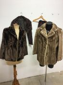 A 1950s painted mink lined stole, a 1960s faux fur jacket together with a 1940s sable fur stole