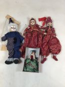 A collection of dolls and a puppet to include a Peggy Nisbet doll English Historical costumes H/
