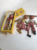 Three vintage Pelham puppets to include the clown and Hansel and Gretel from 1940s. Hansel and