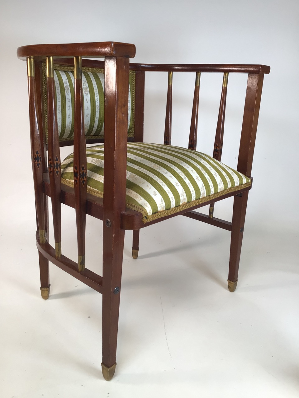 A Viennese secessionist mahogany and chequer inlaid parlour suite. - Image 7 of 12