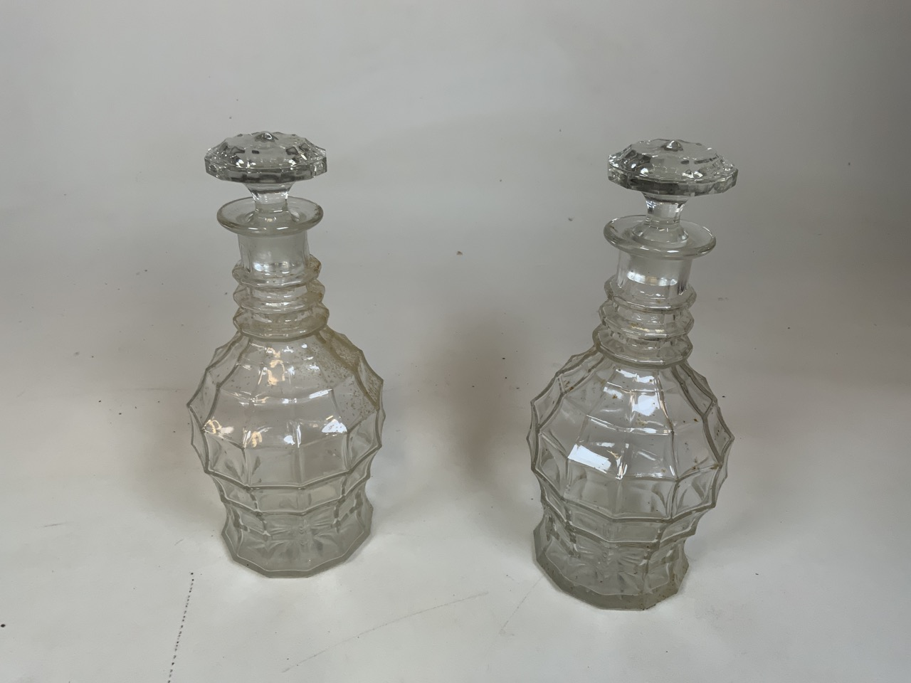A pair of moulded glass decanters Height 27cm together with a ships decanter 20cm height, a green - Image 2 of 6
