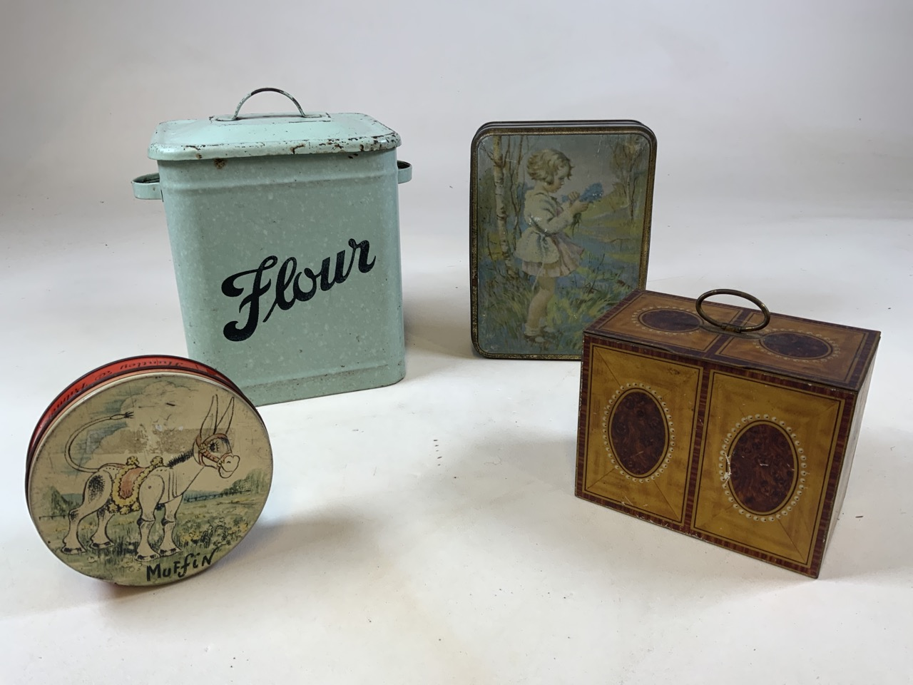 An enamel flour storage tin together with a Huntley and Palmer Muffin the Mule tin, a William - Image 2 of 7