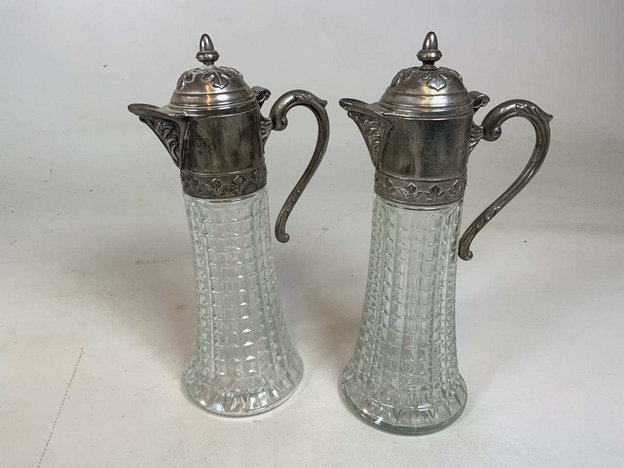 A pair of Italian glass and white metal topped claret jugs together with a pair of Medina glass - Image 2 of 4