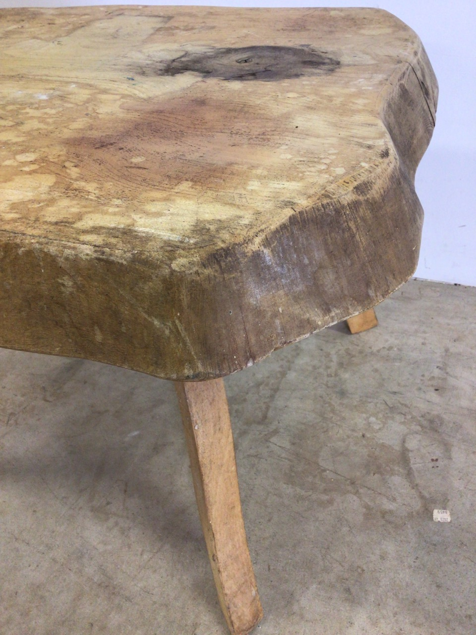A rustic square coffee table, with 3 inch oak top. W:64cm x D:64cm x H:47cm - Image 5 of 5