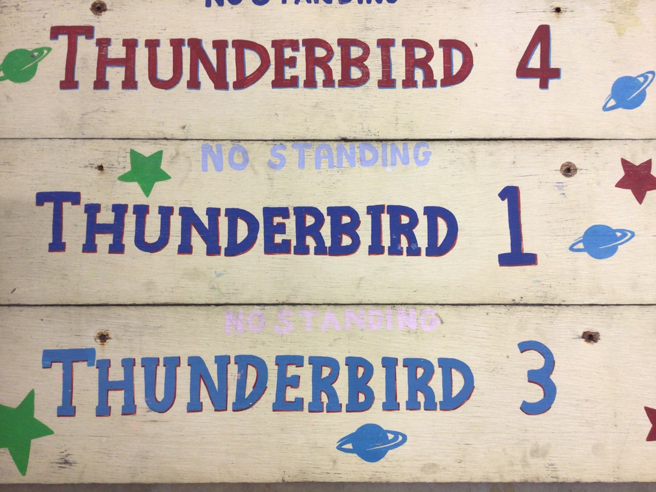 Seven Thunderbirds hand painted signs on wooden boards. W:129cm x H:30cm - Image 2 of 5