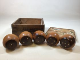 A boxed set Gofky garden game with elements of croquet and billiards. Box size W:28cm x D:28cm x H: