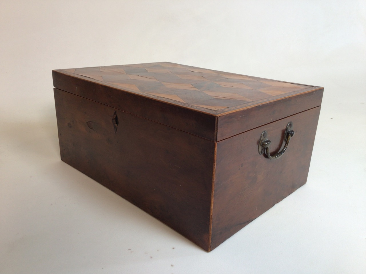 A Victorian parquetry walnut box with metal handles. W:33cm x D:24cm x H:15cm - Image 2 of 5