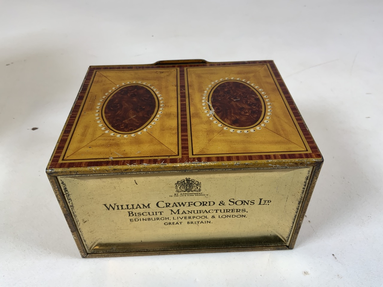 An enamel flour storage tin together with a Huntley and Palmer Muffin the Mule tin, a William - Image 6 of 7