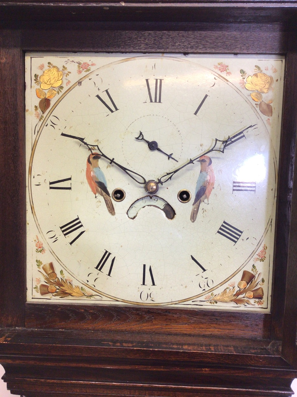 An 8 day mahogany longcase clock with weights and pendulum and key with painted face depicting birds - Image 2 of 10