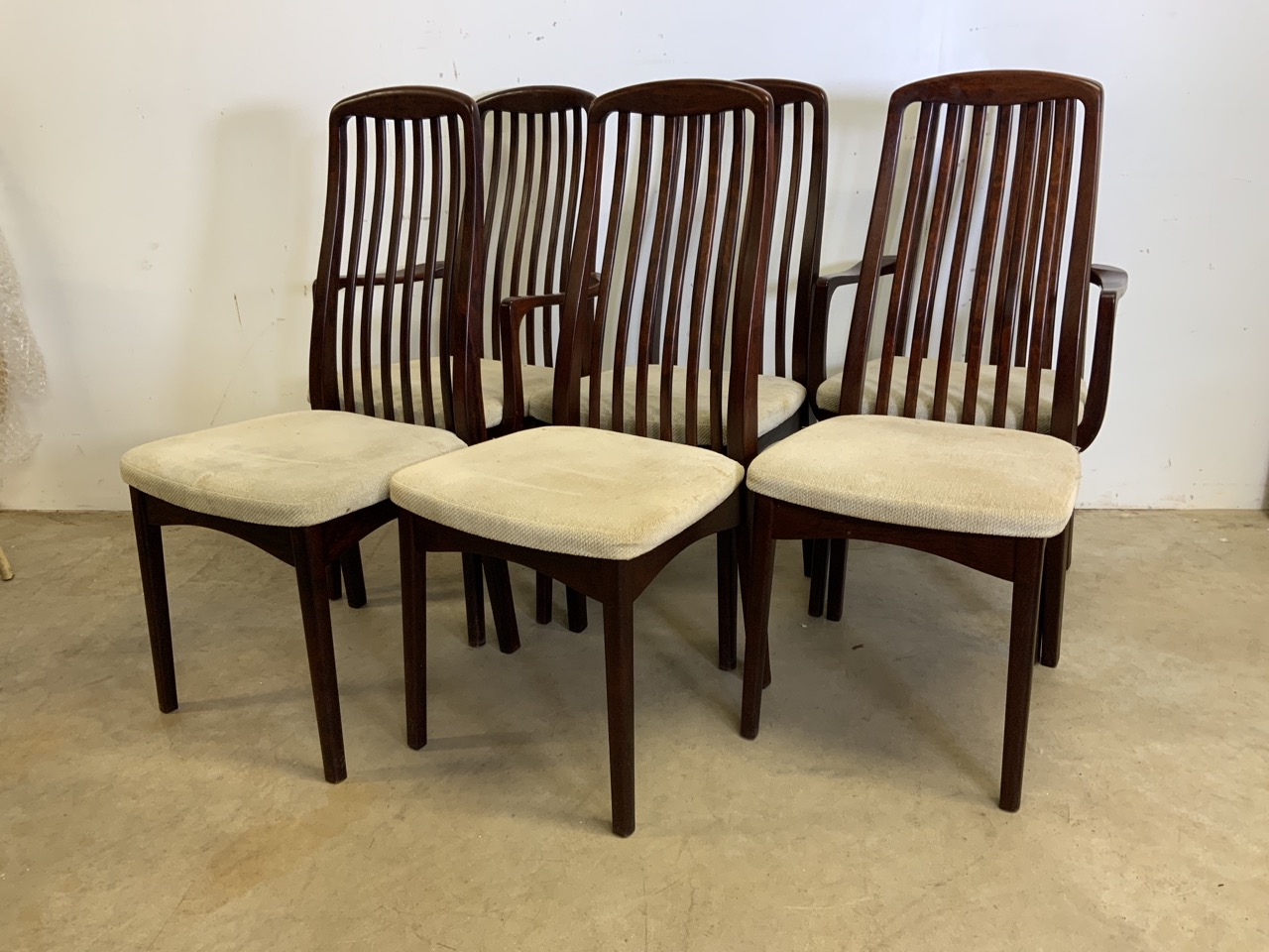 A set of six mid century rosewood Scandinavian dining chairs by Svegards Markaryd. To include two