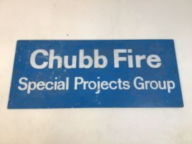A Chubb Fire Special projects group sign on hardwood board. W:78cm x H:33cm