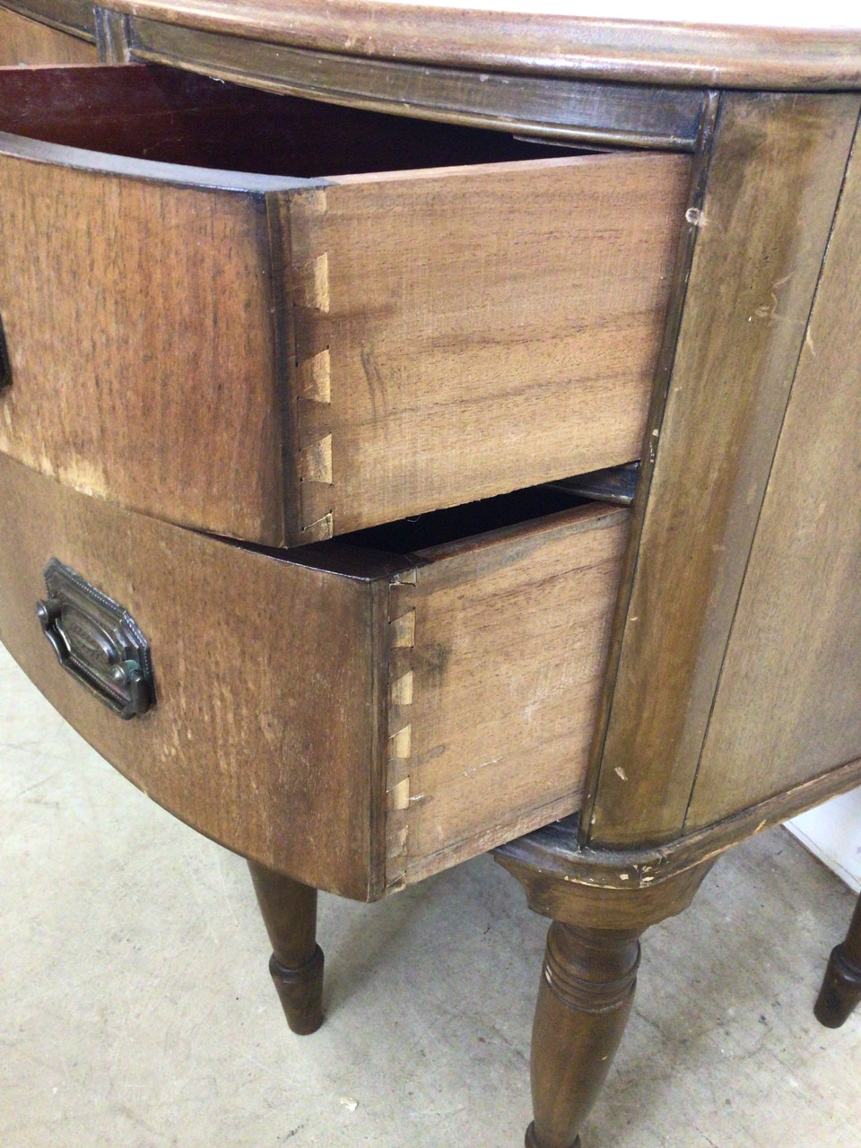 A small curved ladies desk with large central drawer with two drawers either side with brass - Image 2 of 6